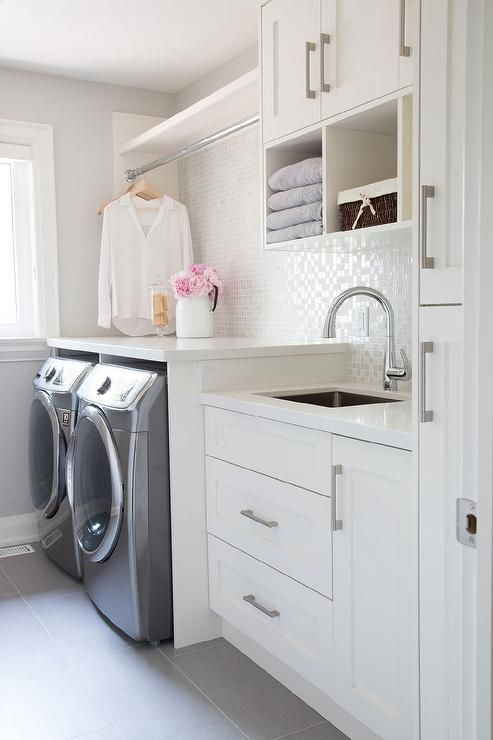 Laundry Room with White Iridescent Tile Backsplash, Transitional, Laundry Room: