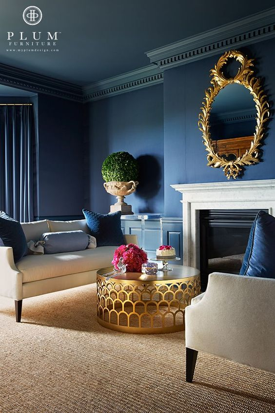 Chic Living Room | Blue Room | Blue Walls | Gold Mirror | Gold Table | White Couch | Glamorous Room: