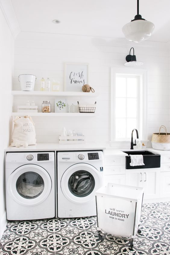 Laundry Mudroom Floating Shelves Fresh Linens Monika Hibbs: