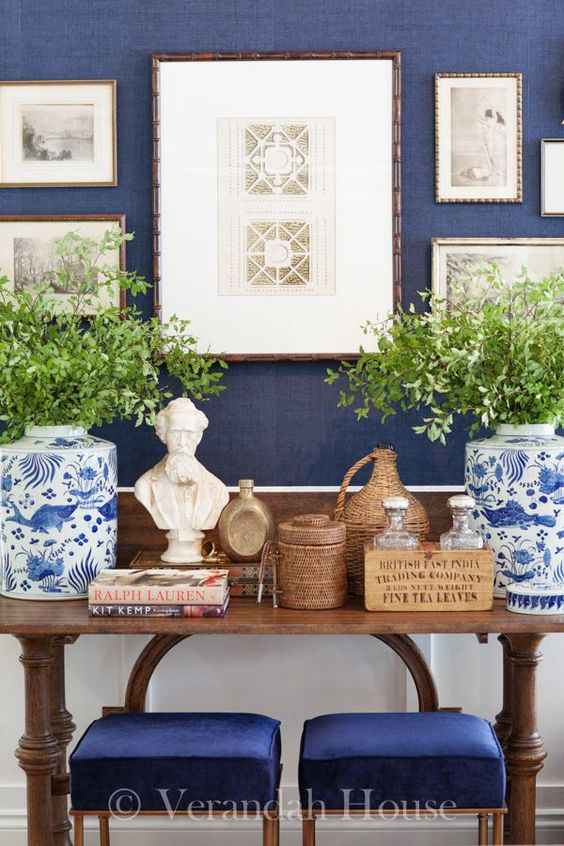 Navy Walls | vignette with blue and white chinoiserie porcelains from Verandah House Interiors: