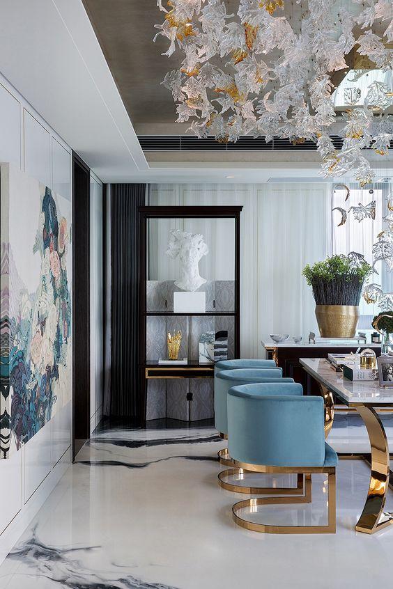 Glam blue white gold: