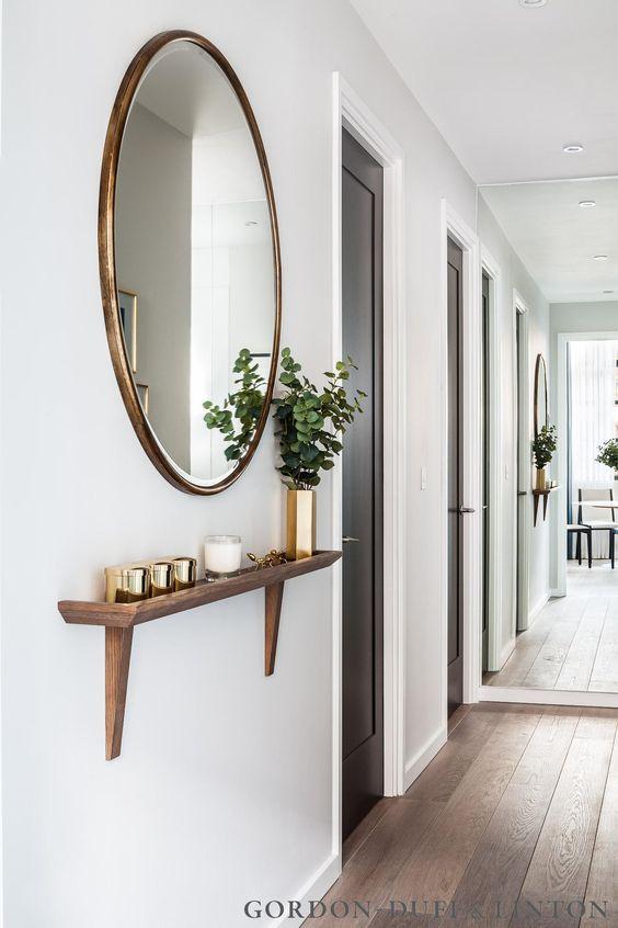 narrow hallway shelf: