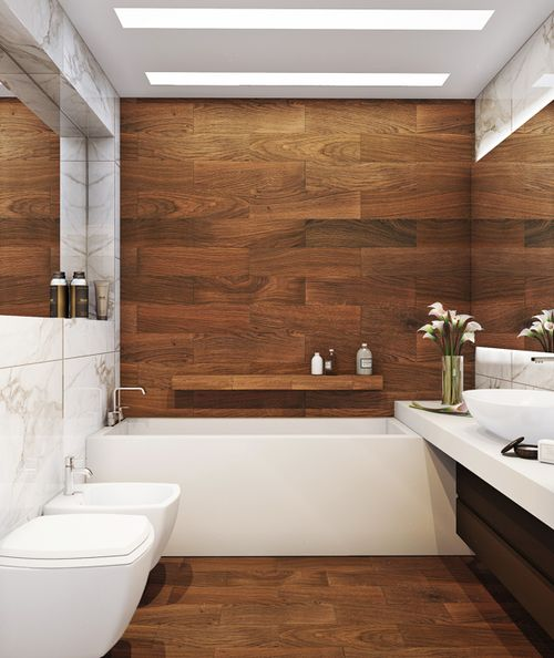 Woody --- you can totally get this look with porcelain tiles.: