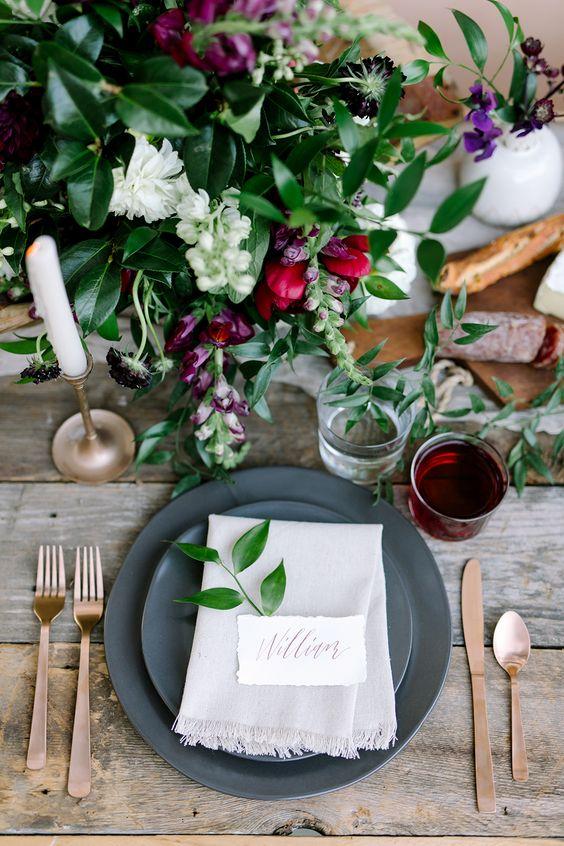dinner place setting - photo by Julie Wilhite http://ruffledblog.com/european-inspired-jewel-toned-wedding-ideas