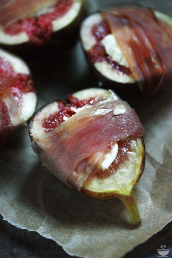 Roasted figs stuffed with goat or blue cheese, wrapped with prosciutto and a drizzle of honey.