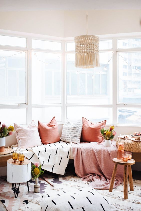 nook | windows | cushions | color | pink | bright