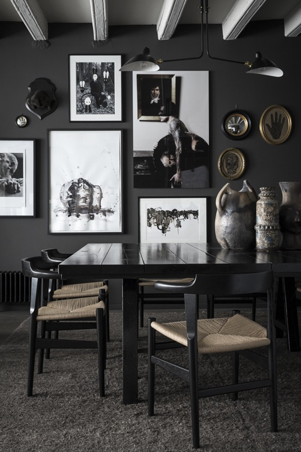 black dining room shot by romain ricard for elle decoration // via coco+kelley